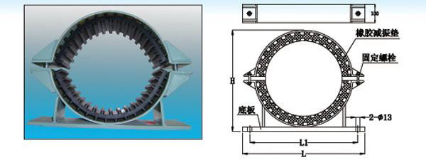 GDU3型管道管夹橡胶减震器结构图